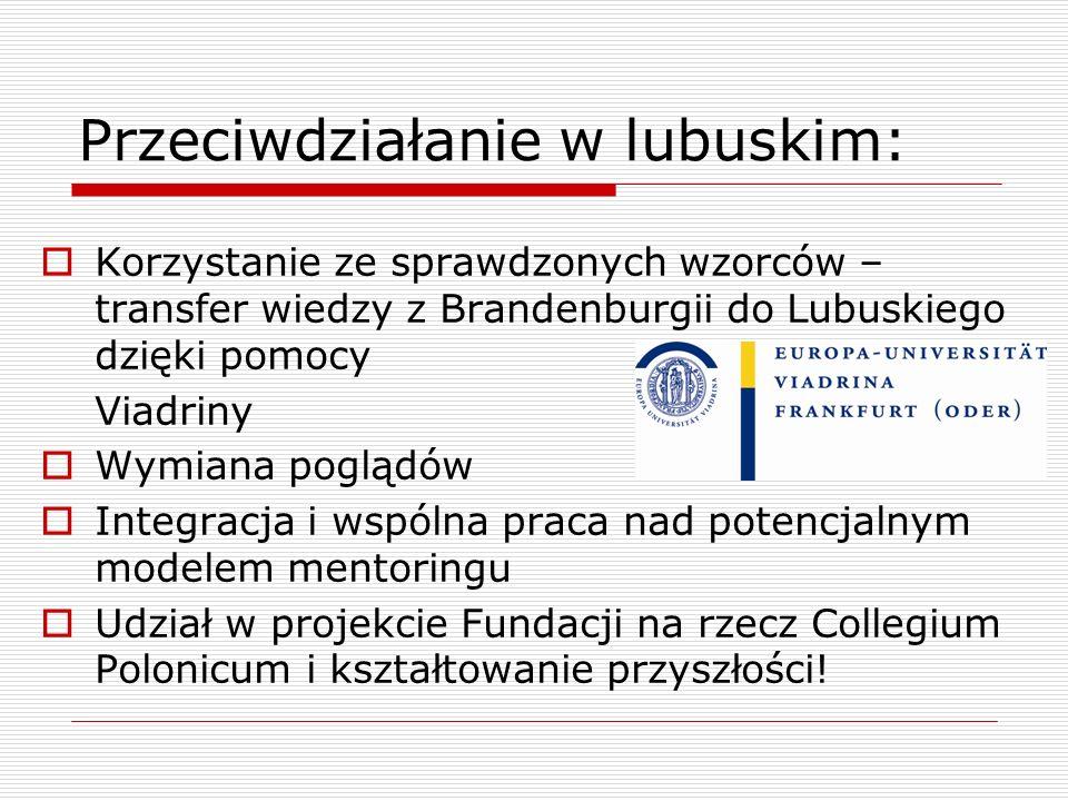 Przeciwdziałanie w lubuskim: Korzystanie ze sprawdzonych wzorców – transfer wiedzy z Brandenburgii do Lubuskiego dzięki pomocy Viadriny Wymiana pogląd