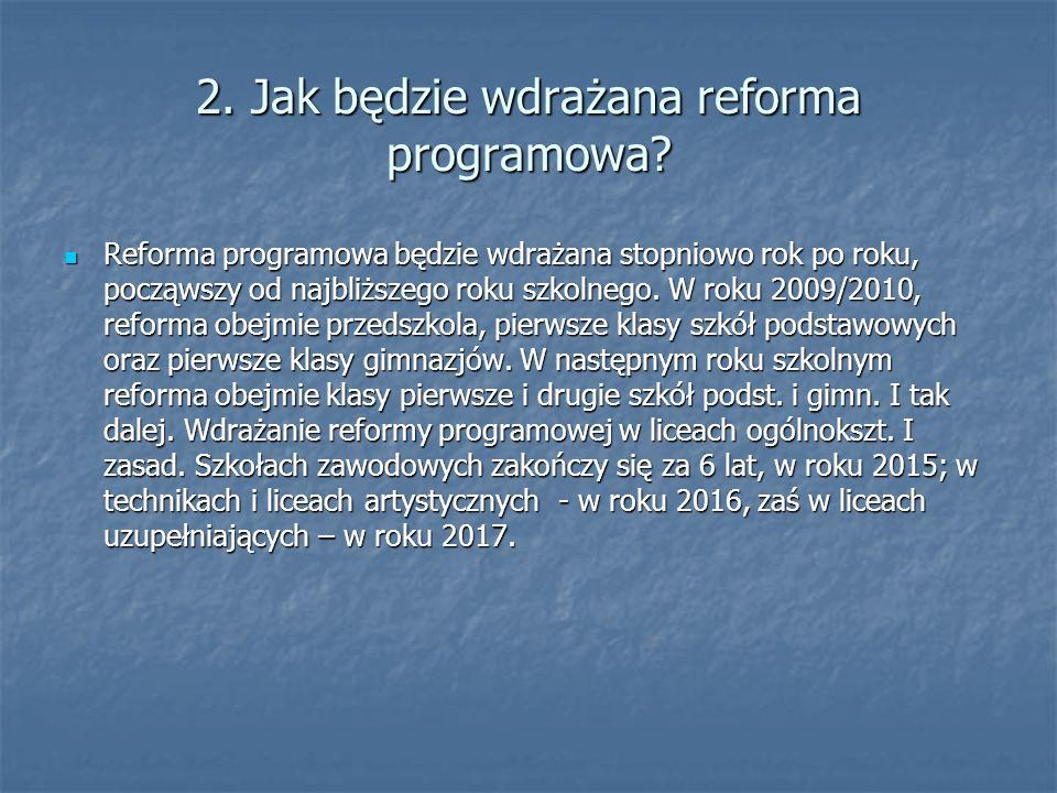 2. Jak będzie wdrażana reforma programowa? Reforma programowa będzie wdrażana stopniowo rok po roku, począwszy od najbliższego roku szkolnego. W roku