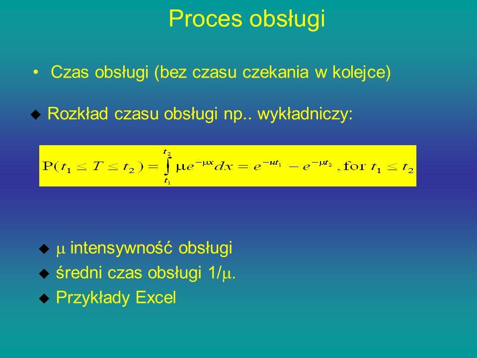 Proces obsługi Czas obsługi (bez czasu czekania w kolejce) u Rozkład czasu obsługi np.. wykładniczy: intensywność obsługi średni czas obsługi 1/. u Pr