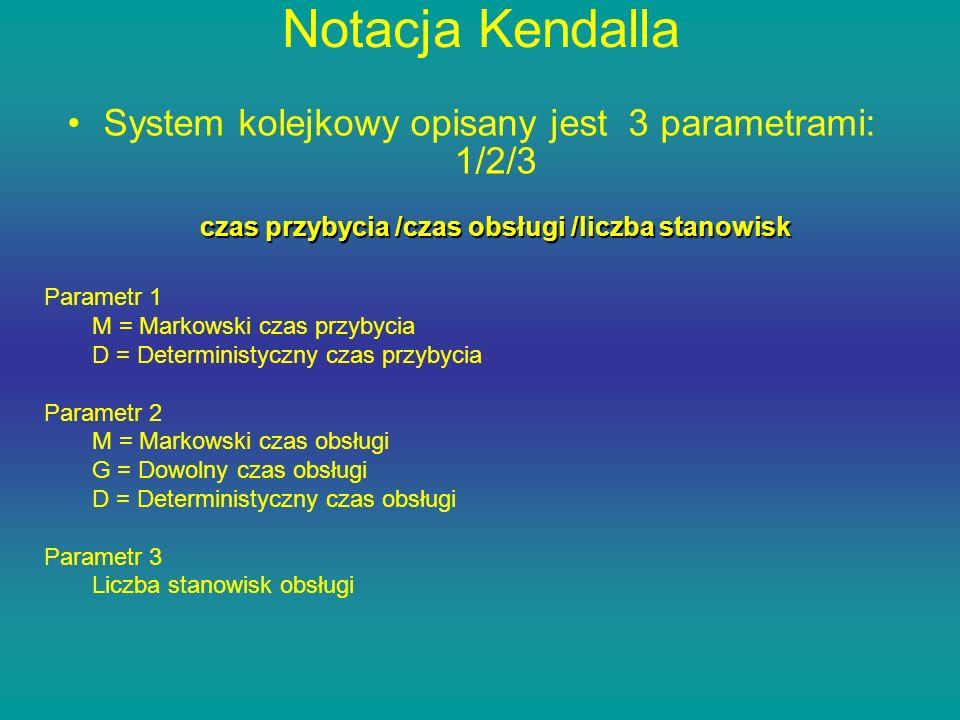 Notacja Kendalla System kolejkowy opisany jest 3 parametrami: 1/2/3 czas przybycia /czas obsługi /liczba stanowisk Parametr 1 M = Markowski czas przyb