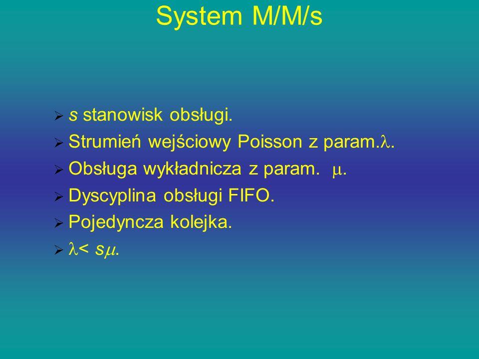 System M/M/s s stanowisk obsługi. Strumień wejściowy Poisson z param.. Obsługa wykładnicza z param.. Dyscyplina obsługi FIFO. Pojedyncza kolejka. < s.