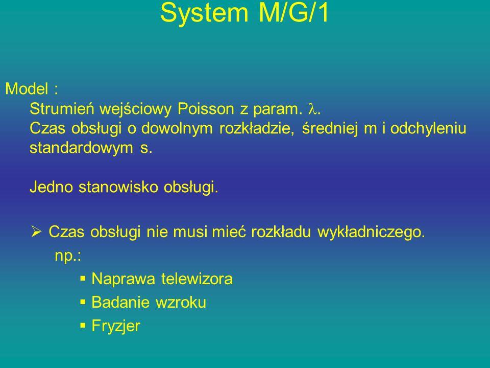 System M/G/1 Czas obsługi nie musi mieć rozkładu wykładniczego. np.: Naprawa telewizora Badanie wzroku Fryzjer Model : Strumień wejściowy Poisson z pa