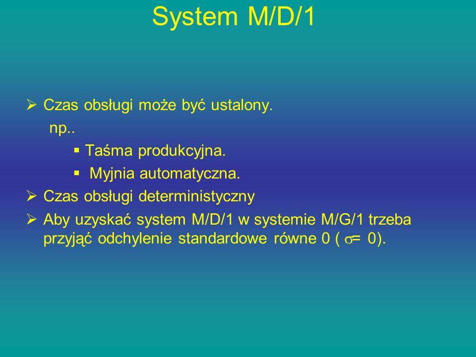 System M/D/1 Czas obsługi może być ustalony. np.. Taśma produkcyjna. Myjnia automatyczna. Czas obsługi deterministyczny Aby uzyskać system M/D/1 w sys