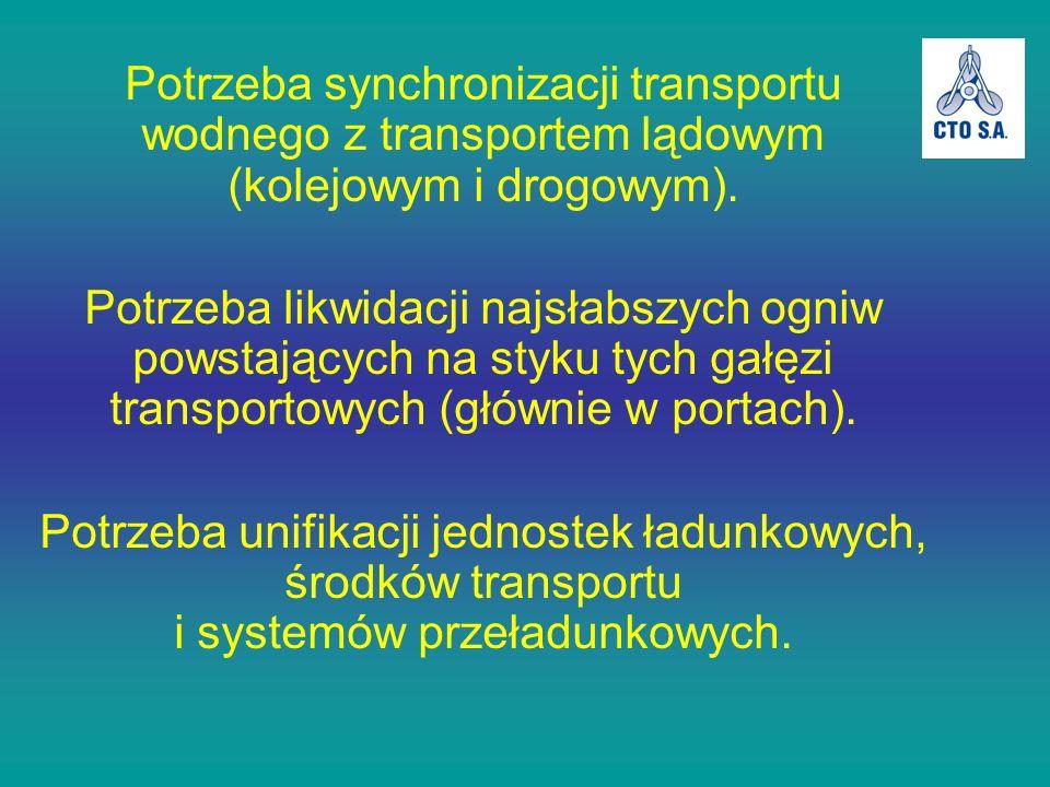 Potrzeba synchronizacji transportu wodnego z transportem lądowym (kolejowym i drogowym). Potrzeba likwidacji najsłabszych ogniw powstających na styku