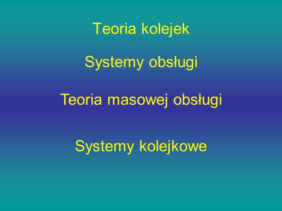 Teoria kolejek Teoria masowej obsługi Systemy kolejkowe Systemy obsługi