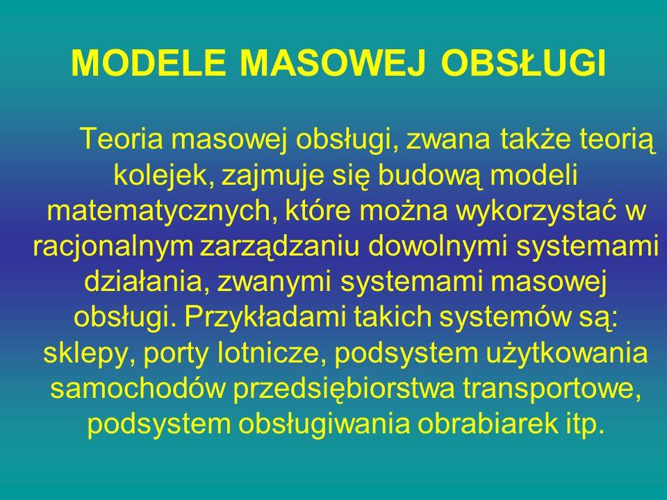 MODELE MASOWEJ OBSŁUGI Teoria masowej obsługi, zwana także teorią kolejek, zajmuje się budową modeli matematycznych, które można wykorzystać w racjona