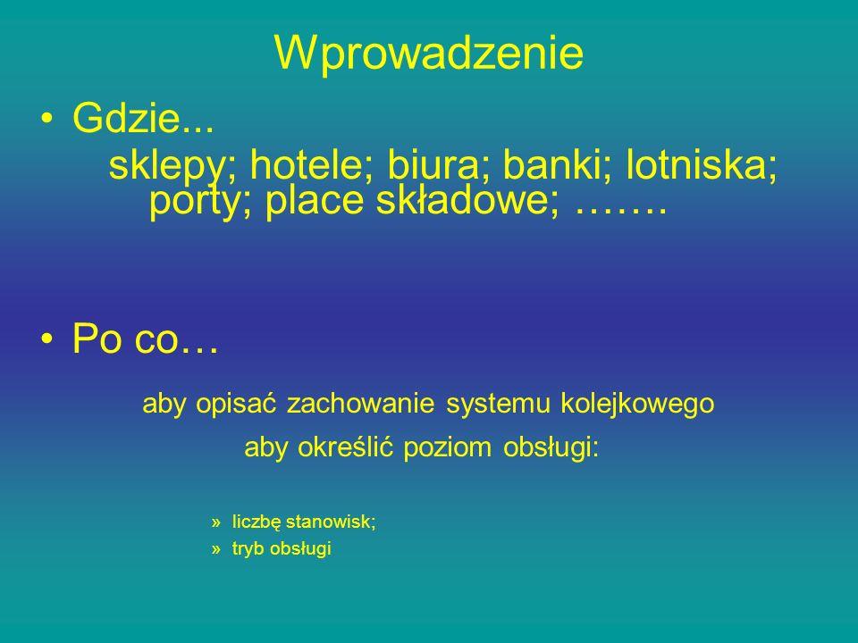 Wprowadzenie Gdzie... sklepy; hotele; biura; banki; lotniska; porty; place składowe; ……. Po co… aby opisać zachowanie systemu kolejkowego aby określić