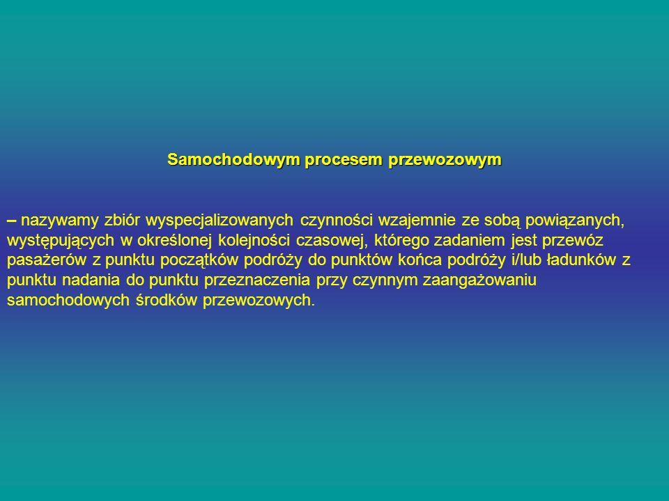 Samochodowym procesem przewozowym – nazywamy zbiór wyspecjalizowanych czynności wzajemnie ze sobą powiązanych, występujących w określonej kolejności c