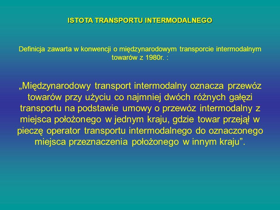 ISTOTA TRANSPORTU INTERMODALNEGO Definicja zawarta w konwencji o międzynarodowym transporcie intermodalnym towarów z 1980r. : Międzynarodowy transport