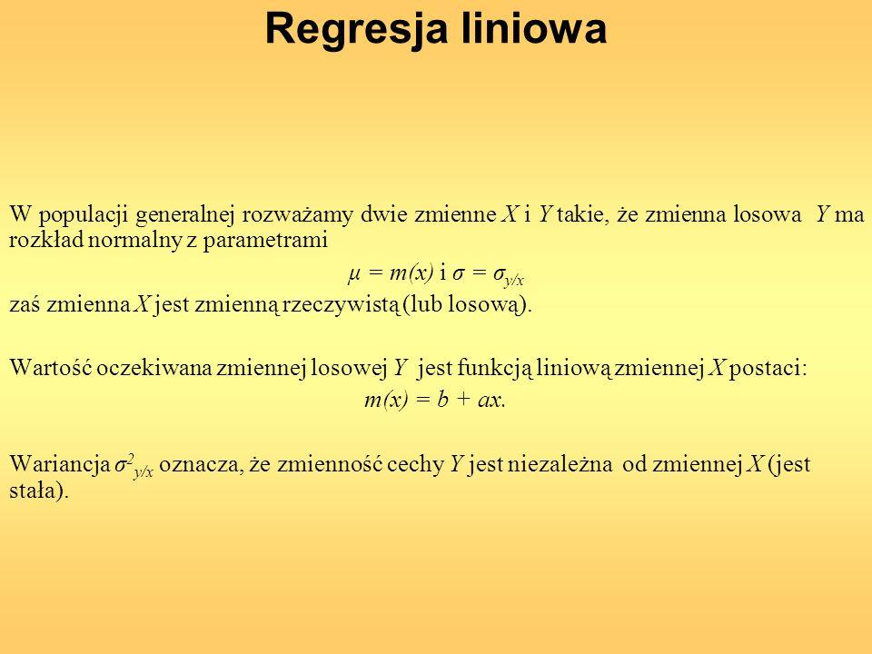 Regresja liniowa W populacji generalnej rozważamy dwie zmienne X i Y takie, że zmienna losowa Y ma rozkład normalny z parametrami μ = m(x) i σ = σ y/x