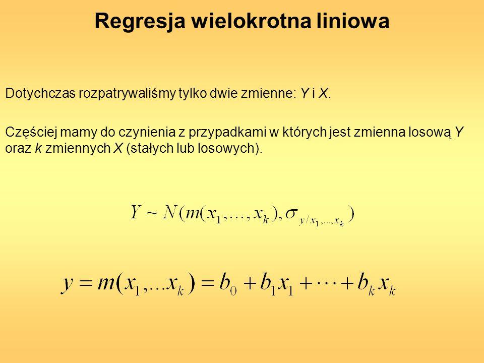 Regresja wielokrotna liniowa Dotychczas rozpatrywaliśmy tylko dwie zmienne: Y i X. Częściej mamy do czynienia z przypadkami w których jest zmienna los