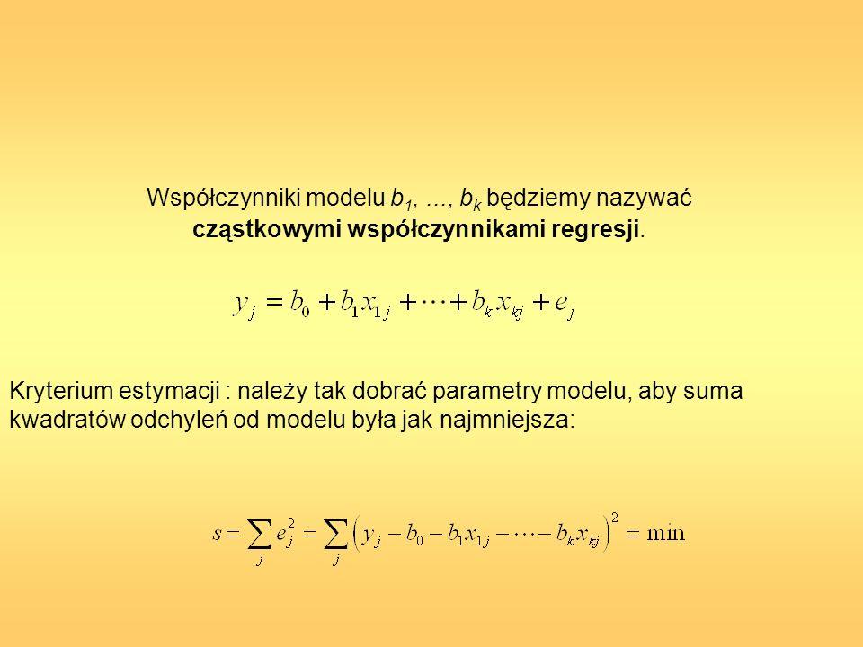 Współczynniki modelu b 1,..., b k będziemy nazywać cząstkowymi współczynnikami regresji. Kryterium estymacji : należy tak dobrać parametry modelu, aby
