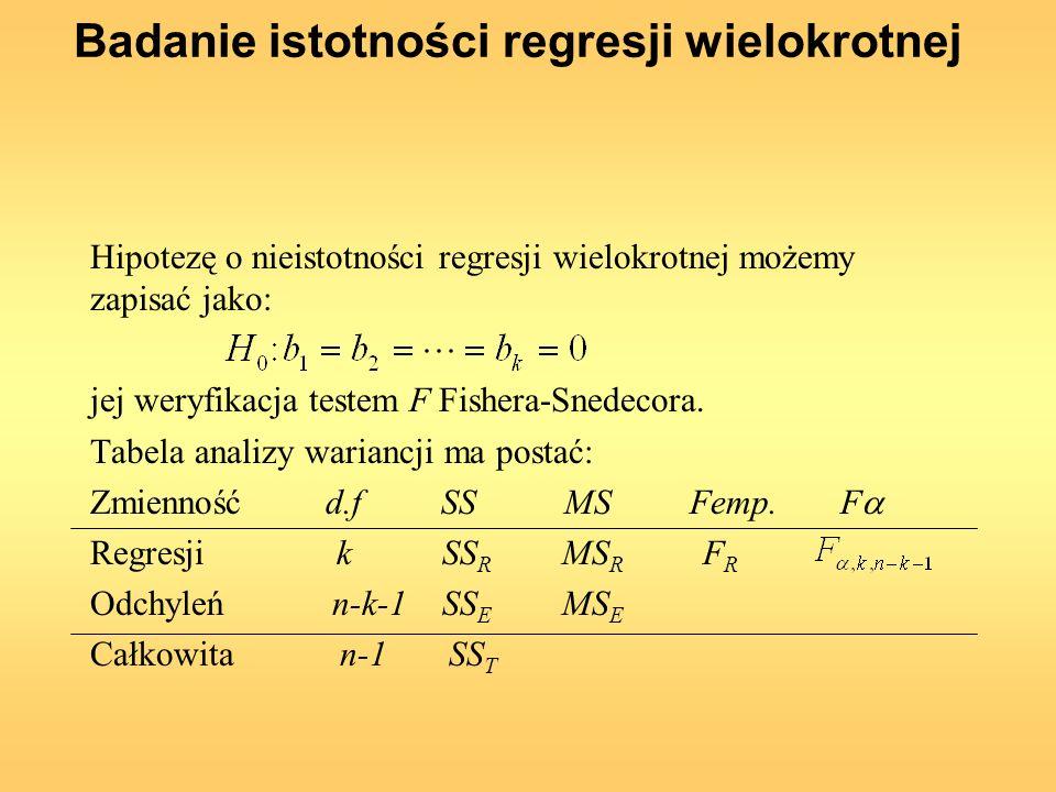 Badanie istotności regresji wielokrotnej Hipotezę o nieistotności regresji wielokrotnej możemy zapisać jako: jej weryfikacja testem F Fishera-Snedecor