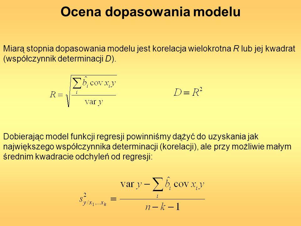 Miarą stopnia dopasowania modelu jest korelacja wielokrotna R lub jej kwadrat (współczynnik determinacji D). Dobierając model funkcji regresji powinni