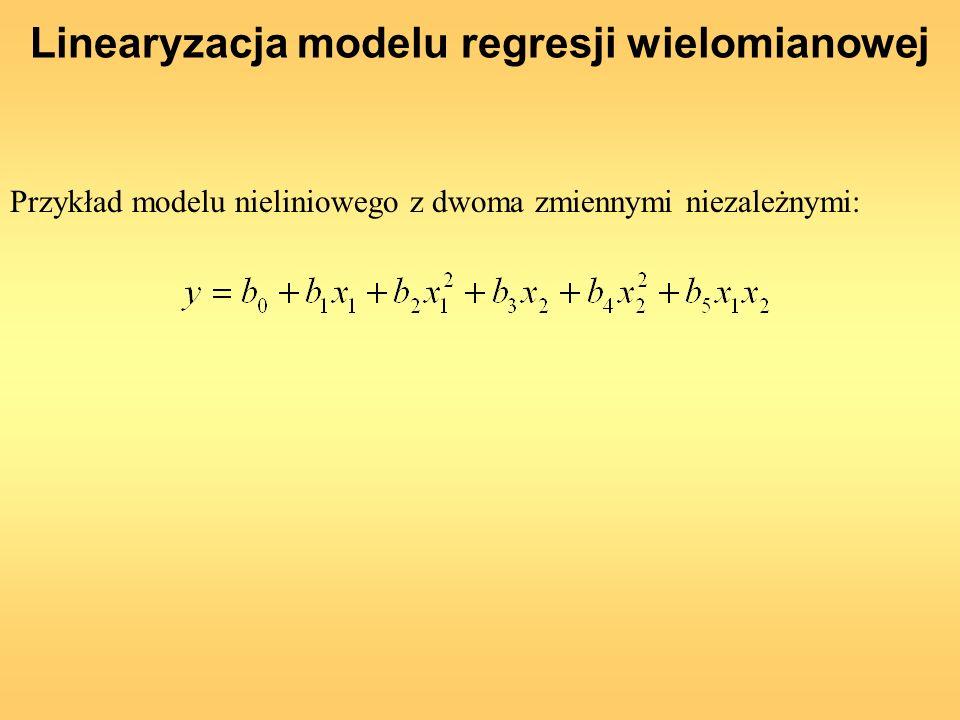 Linearyzacja modelu regresji wielomianowej Przykład modelu nieliniowego z dwoma zmiennymi niezależnymi: