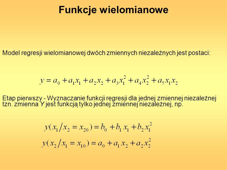 Funkcje wielomianowe Model regresji wielomianowej dwóch zmiennych niezależnych jest postaci: Etap pierwszy - Wyznaczanie funkcji regresji dla jednej z