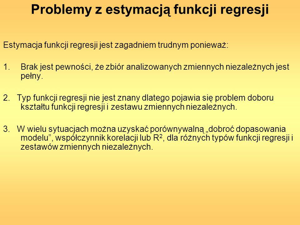 Problemy z estymacją funkcji regresji Estymacja funkcji regresji jest zagadniem trudnym ponieważ: 1.Brak jest pewności, że zbiór analizowanych zmienny