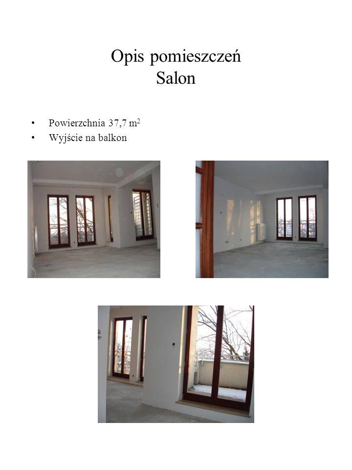 Opis pomieszczeń Salon Powierzchnia 37,7 m 2 Wyjście na balkon