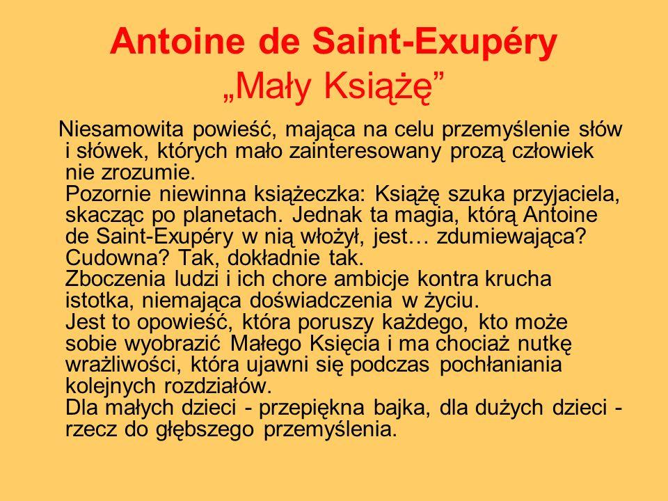 Antoine de Saint-Exupéry Mały Książę Niesamowita powieść, mająca na celu przemyślenie słów i słówek, których mało zainteresowany prozą człowiek nie zr
