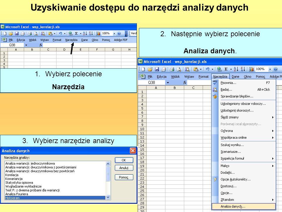 Uzyskiwanie dostępu do narzędzi analizy danych 1.Wybierz polecenie Narzędzia 2.Następnie wybierz polecenie Analiza danych. 3.Wybierz narzędzie analizy