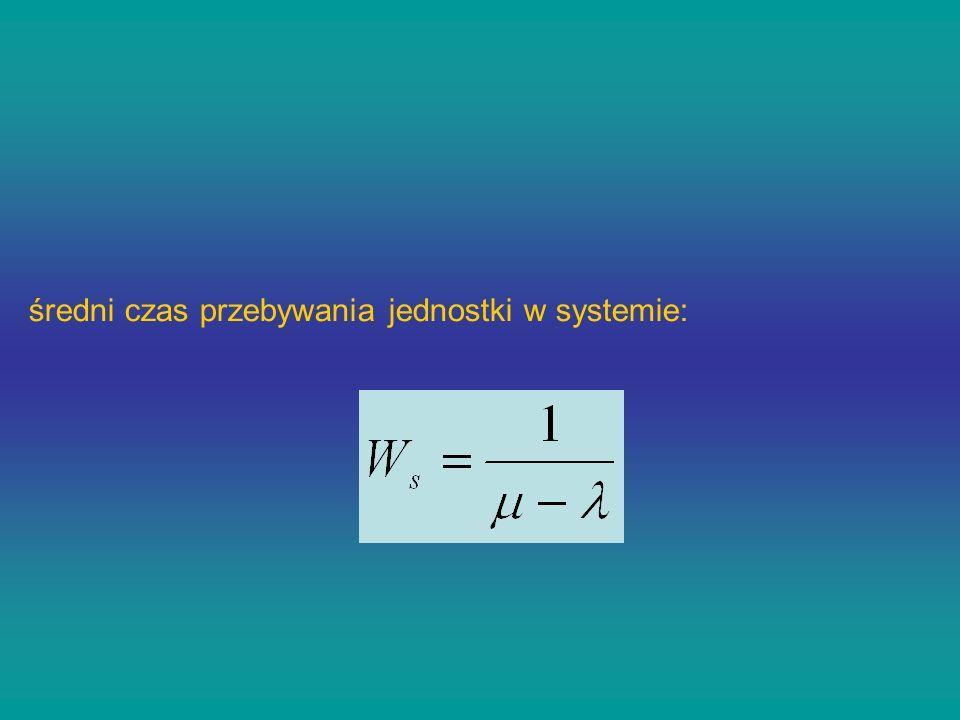 średni czas przebywania jednostki w systemie:
