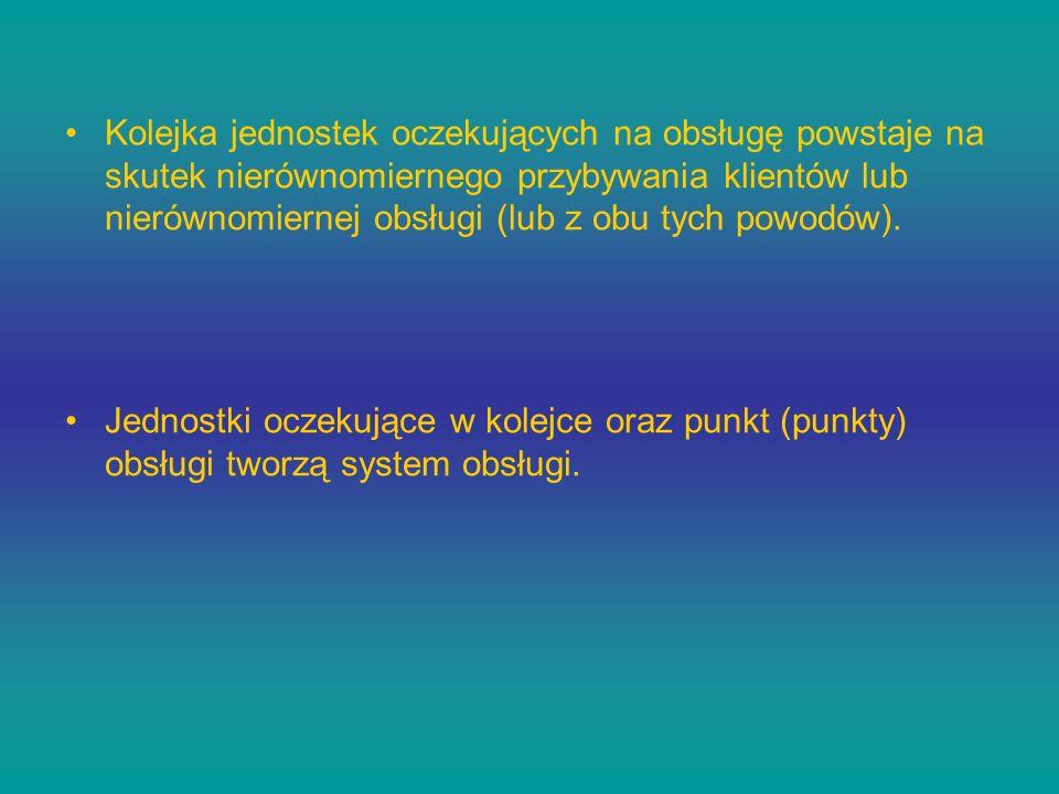 Podstawowymi charakterystykami systemów obsługi są: intensywność strumienia zgłoszeń - (liczba zgłoszeń / jednostkę czasu), intensywność strumienia obsługi w ustalonej jednostce czasu - (liczba jednostek obsłużonych / jednostkę czasu).