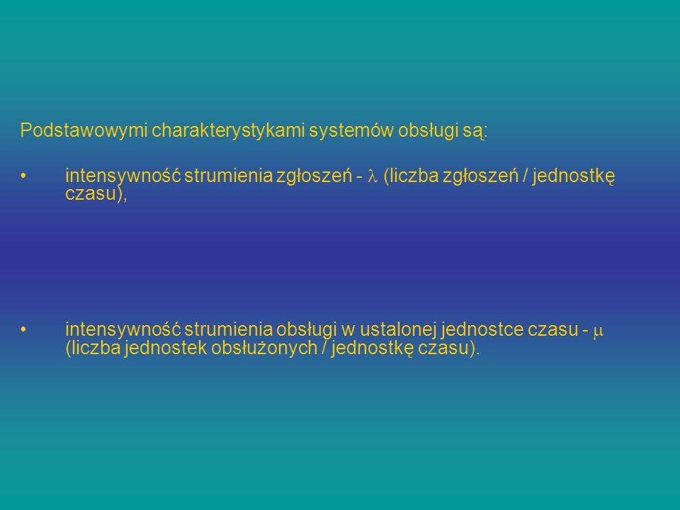 Podstawowymi charakterystykami systemów obsługi są: intensywność strumienia zgłoszeń - (liczba zgłoszeń / jednostkę czasu), intensywność strumienia ob