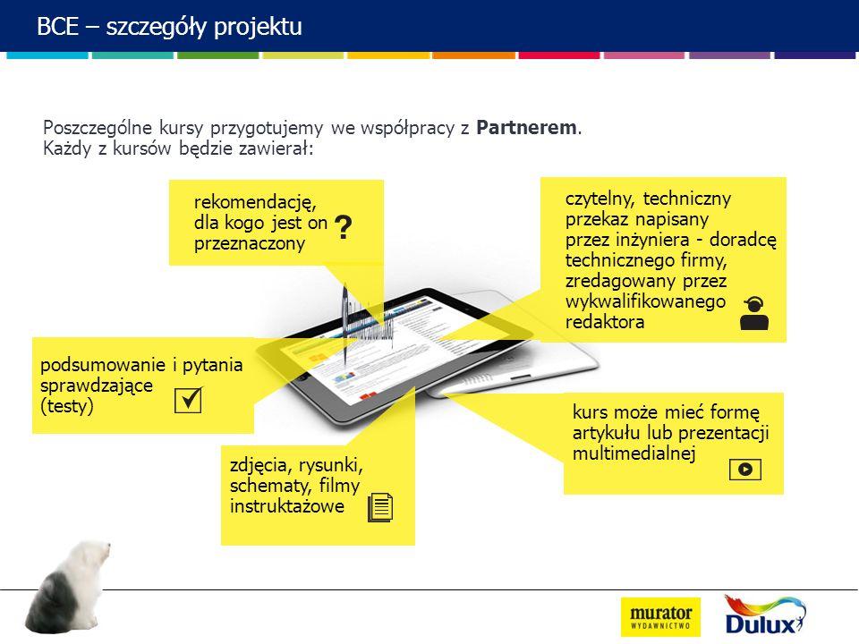 BCE – szczegóły projektu Poszczególne kursy przygotujemy we współpracy z Partnerem. Każdy z kursów będzie zawierał: podsumowanie i pytania sprawdzając