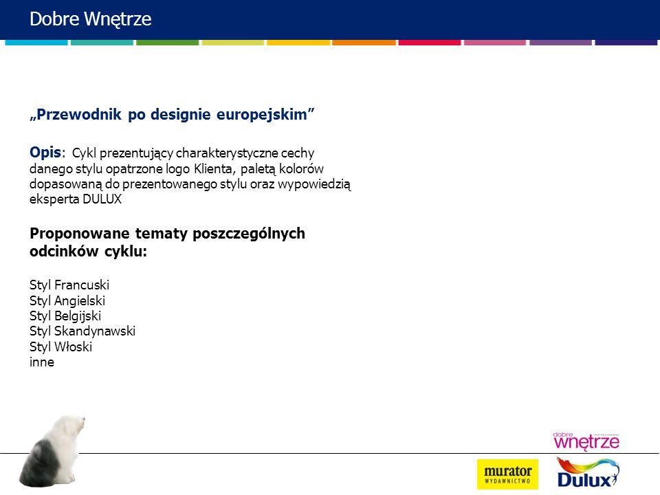 Przewodnik po designie europejskim Opis: Cykl prezentujący charakterystyczne cechy danego stylu opatrzone logo Klienta, paletą kolorów dopasowaną do p
