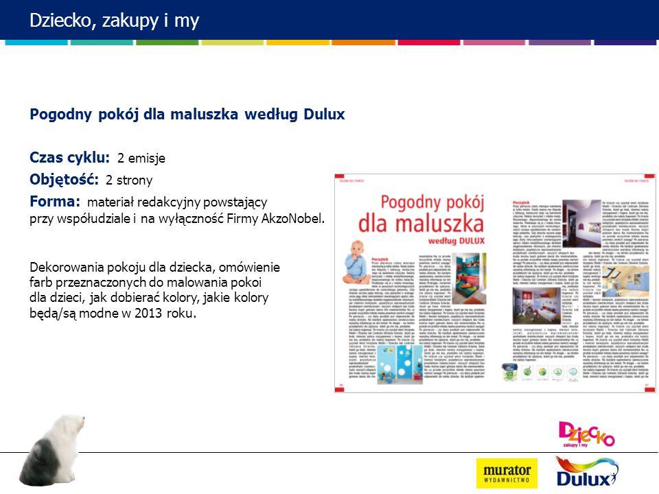 Dziecko, zakupy i my Pogodny pokój dla maluszka według Dulux Czas cyklu: 2 emisje Objętość: 2 strony Forma: materiał redakcyjny powstający przy współu
