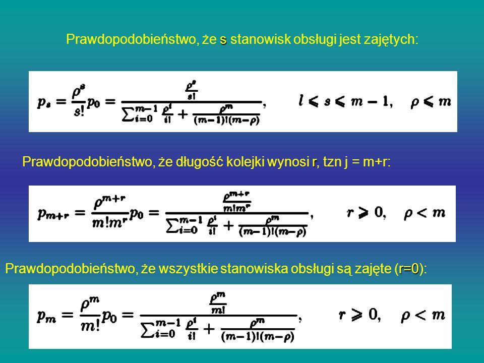 s Prawdopodobieństwo, że s stanowisk obsługi jest zajętych: r Prawdopodobieństwo, że długość kolejki wynosi r, tzn j = m+r: r=0 Prawdopodobieństwo, że