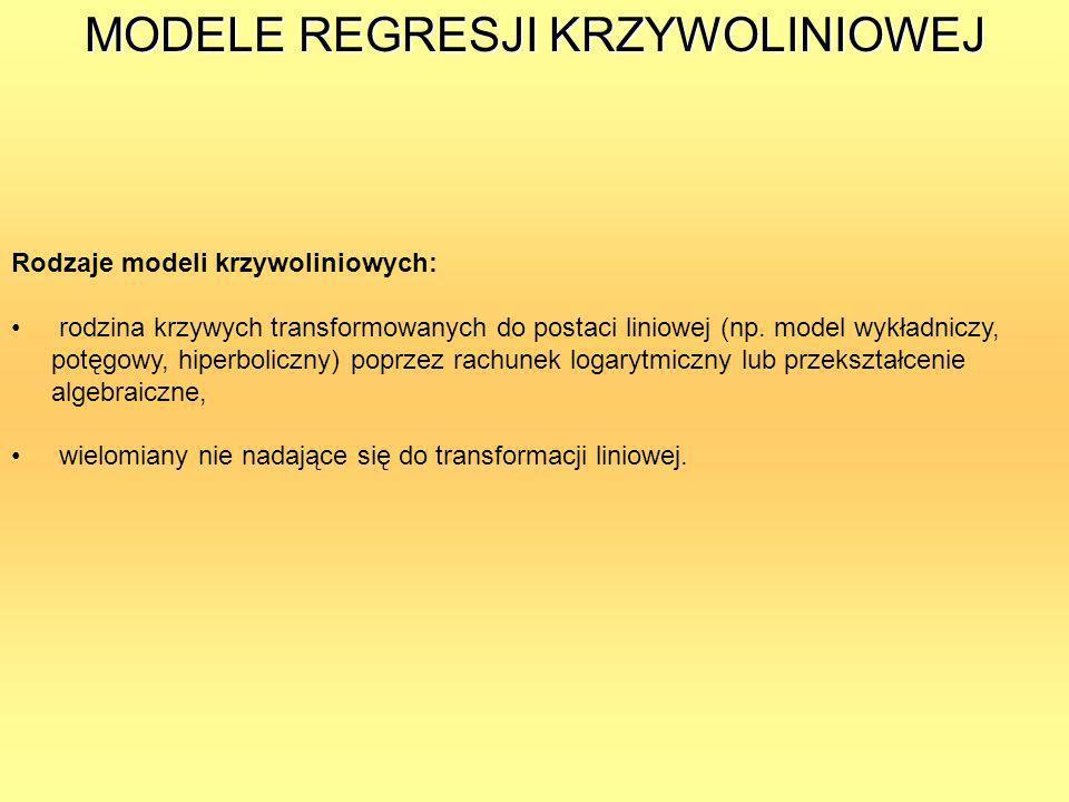 MODELE REGRESJI KRZYWOLINIOWEJ Rodzaje modeli krzywoliniowych: rodzina krzywych transformowanych do postaci liniowej (np. model wykładniczy, potęgowy,