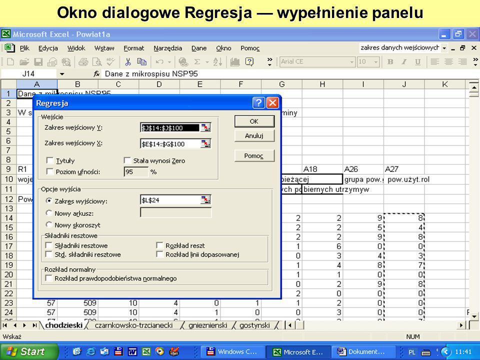 Okno dialogowe Regresja wypełnienie panelu