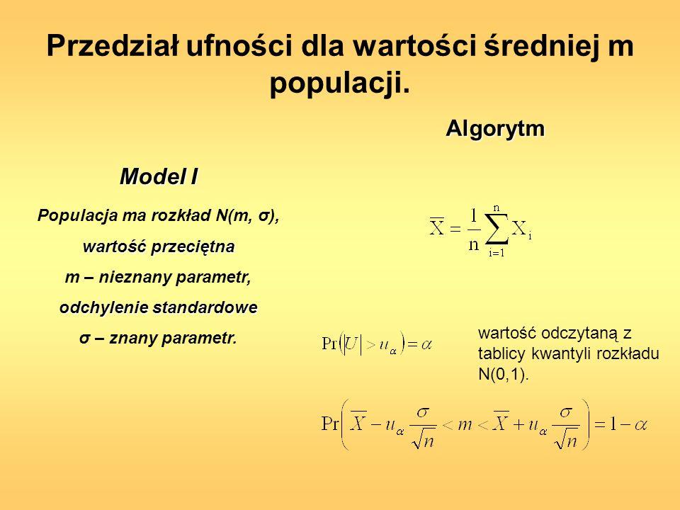 Populacja ma rozkład N(m, σ), wartość przeciętna m – nieznany parametr, odchylenie standardowe σ – znany parametr. wartość odczytaną z tablicy kwantyl