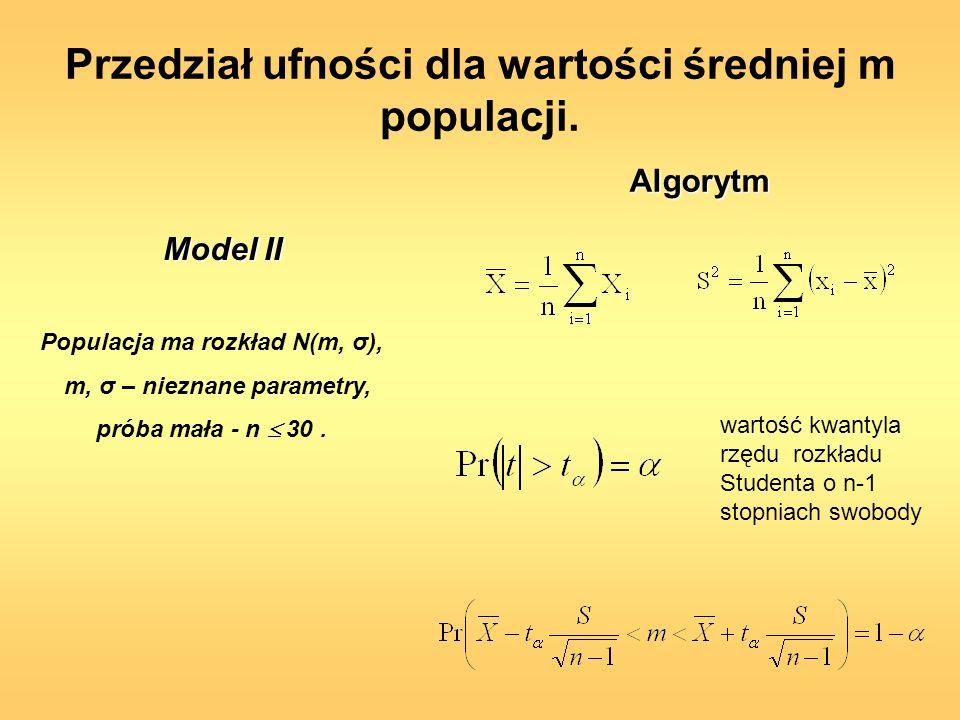 Przedział ufności dla wartości średniej m populacji. Populacja ma rozkład N(m, σ), m, σ – nieznane parametry, próba mała - n 30. wartość kwantyla rzęd