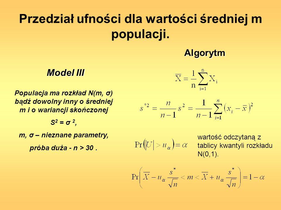 Przedział ufności dla wartości średniej m populacji. Populacja ma rozkład N(m, σ) bądź dowolny inny o średniej m i o wariancji skończonej S 2 = σ 2, m