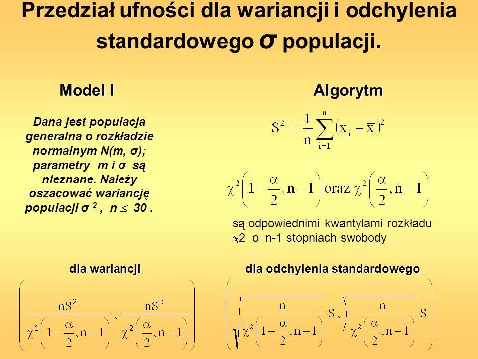 Przedział ufności dla wariancji i odchylenia standardowego σ populacji. Dana jest populacja generalna o rozkładzie normalnym N(m, σ); parametry m i σ