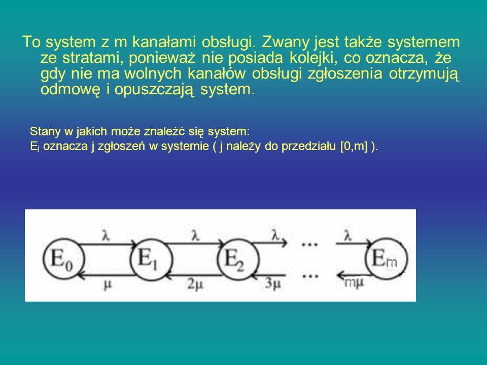 To system z m kanałami obsługi. Zwany jest także systemem ze stratami, ponieważ nie posiada kolejki, co oznacza, że gdy nie ma wolnych kanałów obsługi