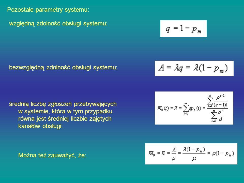 Pozostałe parametry systemu: względną zdolność obsługi systemu: bezwzględną zdolność obsługi systemu: średnią liczbę zgłoszeń przebywających w systemi