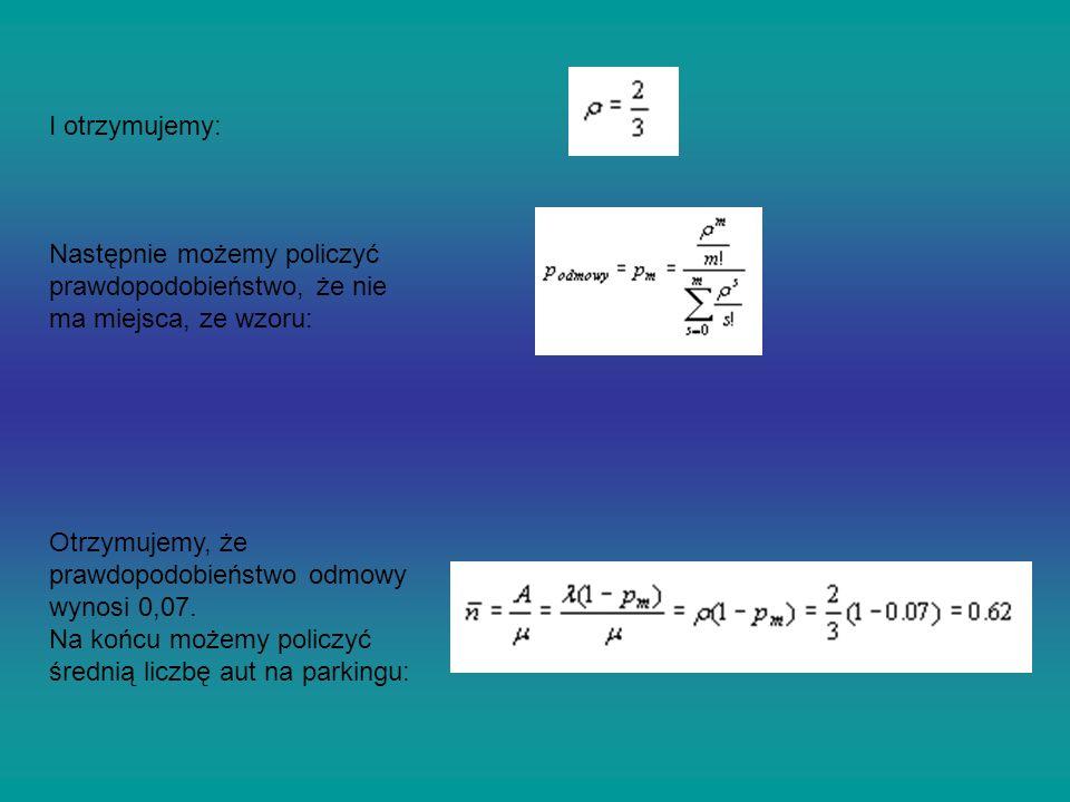 I otrzymujemy: Następnie możemy policzyć prawdopodobieństwo, że nie ma miejsca, ze wzoru: Otrzymujemy, że prawdopodobieństwo odmowy wynosi 0,07. Na ko