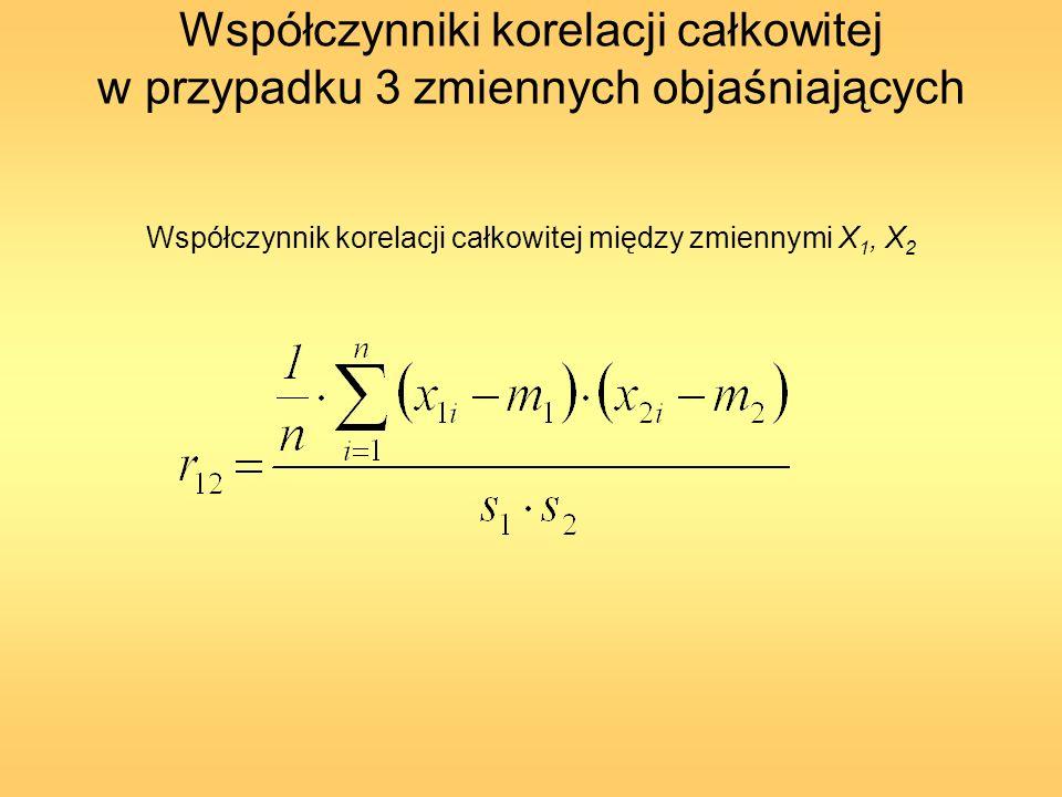 Współczynniki korelacji całkowitej w przypadku 3 zmiennych objaśniających Współczynnik korelacji całkowitej między zmiennymi X 1, X 2