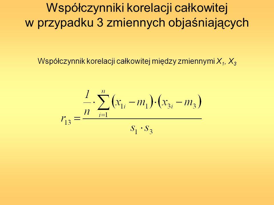 Współczynniki korelacji całkowitej w przypadku 3 zmiennych objaśniających Współczynnik korelacji całkowitej między zmiennymi X 3, X 2
