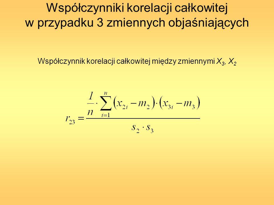 Na podstawie wszystkich kombinacji współczynników korelacji całkowitej można wyznaczyć odpowiednią liczbę współczynników korelacji cząstkowej (częściowej) Kendalla oraz współczynnik korelacji wielorakiej.
