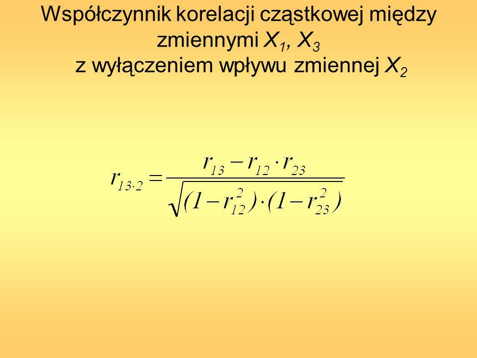 Współczynnik korelacji cząstkowej między zmiennymi X 1, X 3 z wyłączeniem wpływu zmiennej X 2