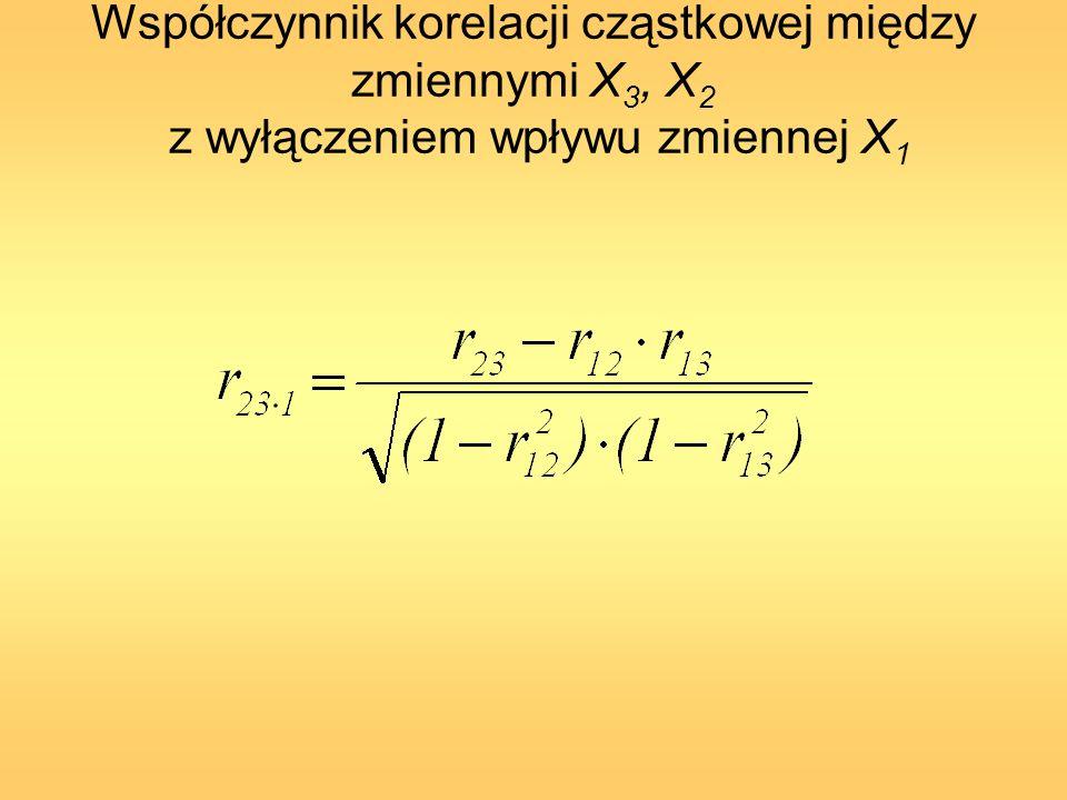 Współczynnik korelacji cząstkowej między zmiennymi X i, oraz X j z wyłączeniem wpływu zmiennej X l Współczynniki korelacji cząstkowej są zawarte w przedziale -1 r ij.l 1