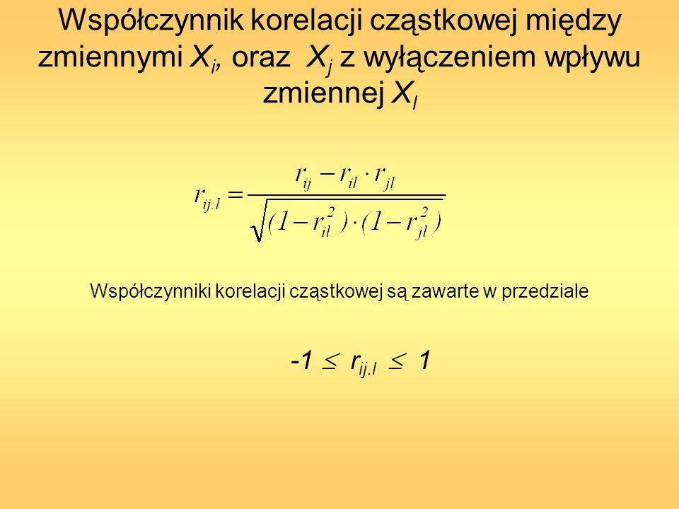 Współczynnik korelacji cząstkowej między zmiennymi X i, oraz X j z wyłączeniem wpływu zmiennej X l Współczynniki korelacji cząstkowej są zawarte w prz