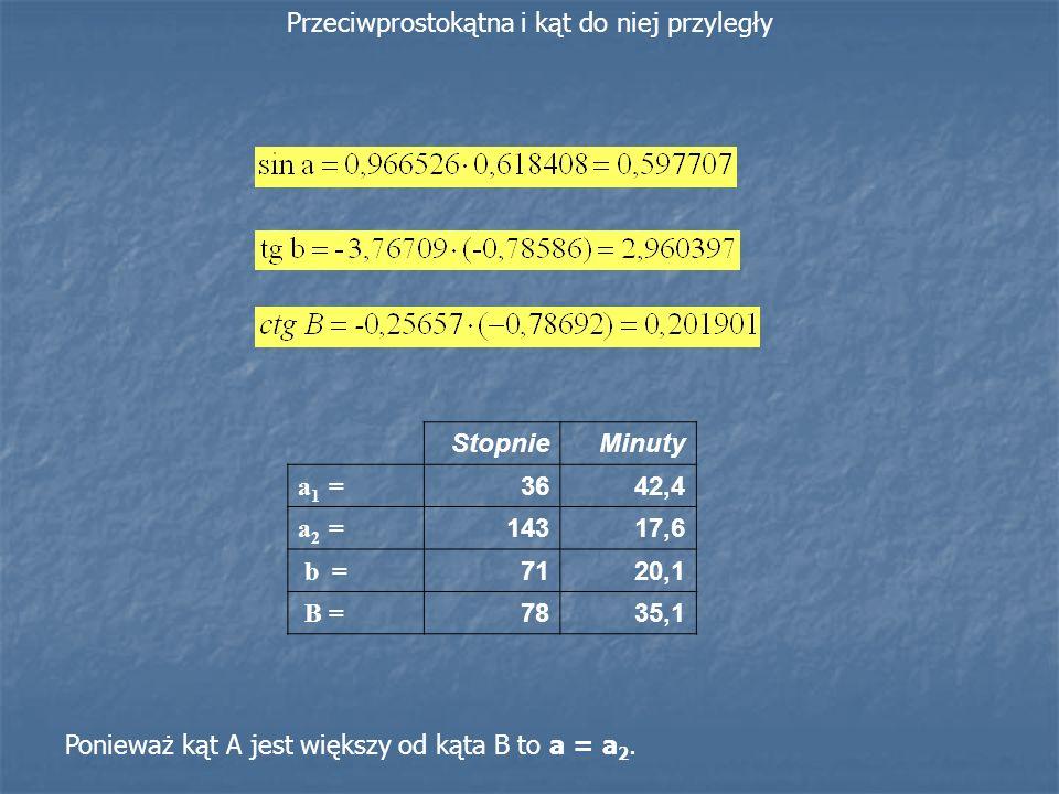 StopnieMinuty a 1 = 3642,4 a 2 = 14317,6 b = 7120,1 B = 7835,1 Ponieważ kąt A jest większy od kąta B to a = a 2. Przeciwprostokątna i kąt do niej przy
