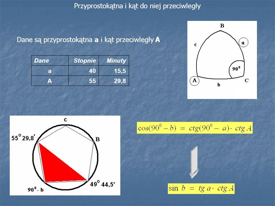 Dane są przyprostokątna a i kąt przeciwległy A Przyprostokątna i kąt do niej przeciwległy DaneStopnieMinuty a4015,5 A5529,8