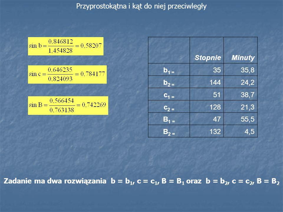 Przyprostokątna i kąt do niej przeciwległy StopnieMinuty b 1 = 3535,8 b 2 = 14424,2 c 1 = 5138,7 c 2 = 12821,3 B 1 = 4755,5 B 2 = 1324,5 Zadanie ma dw