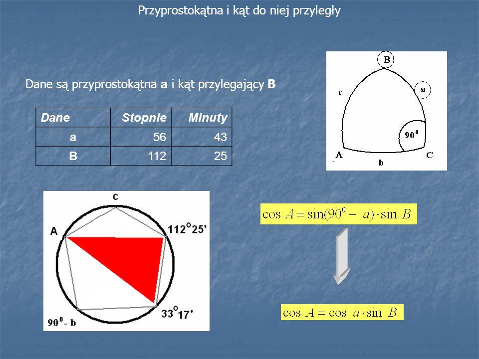 Dane są przyprostokątna a i kąt przylegający B Przyprostokątna i kąt do niej przyległy DaneStopnieMinuty a5643 B11225